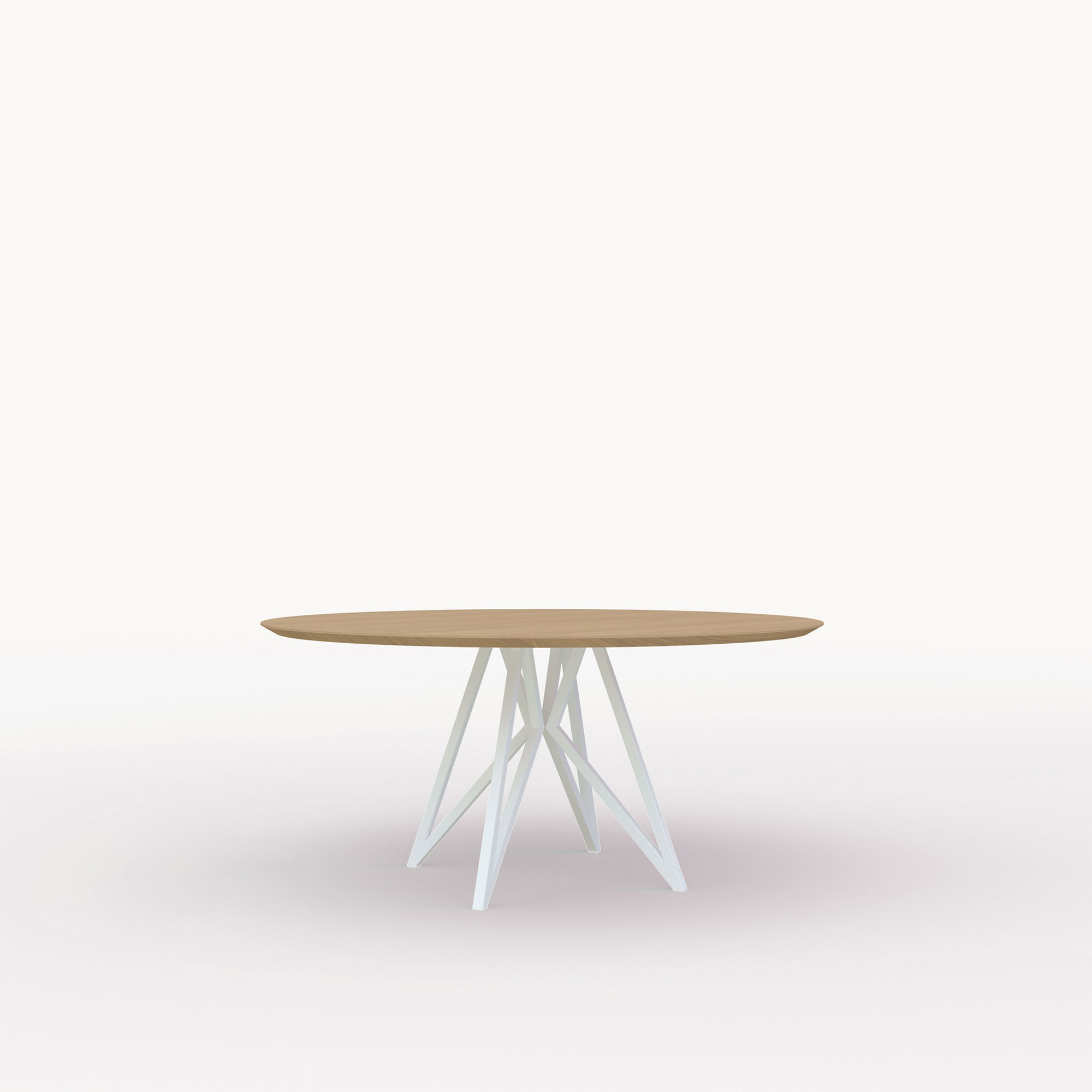Ronde design tafel op maat | Butterfly Quadpod Steel white powdercoating | Oak hardwax oil natural light 3041 | Studio HENK | Cutout