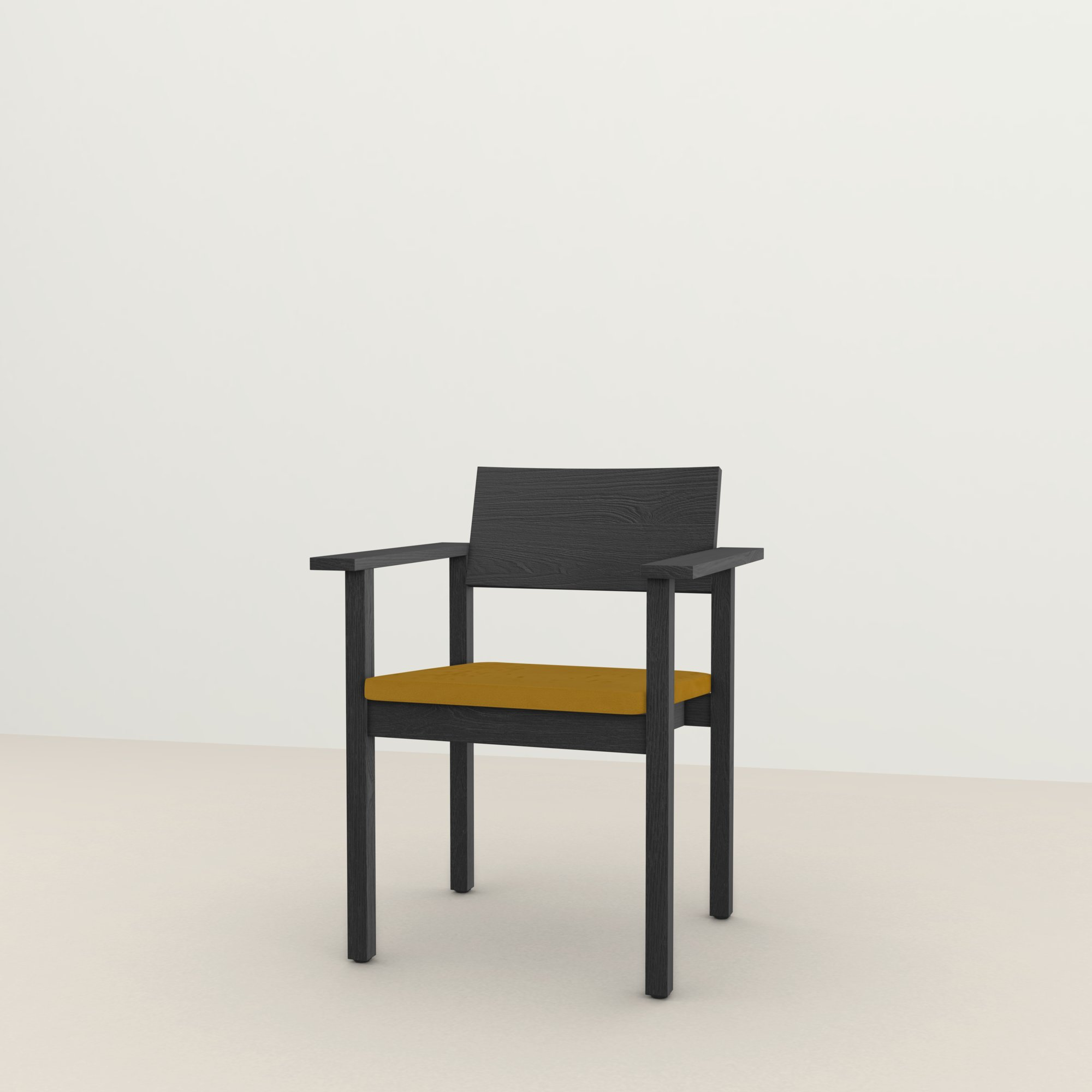 Design eetkamerstoel | Base Chair with armrest upholstered royal gold132 | Studio HENK |