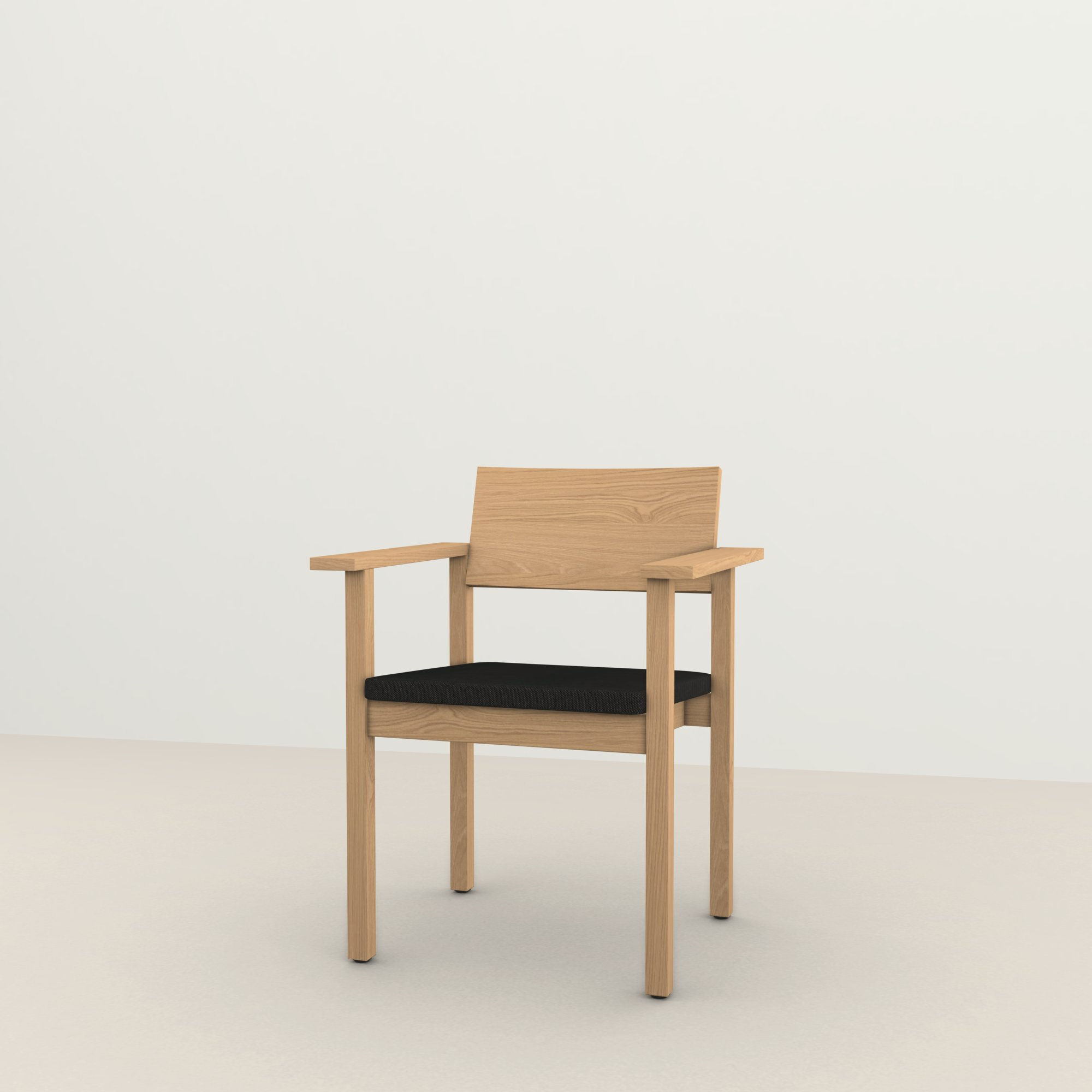 Design eetkamerstoel | Base Chair with armrest upholstered calvados onyx169 | Studio HENK |