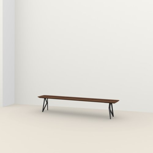 dining bench | Butterfly Bench Steel black powdercoating | Walnut naturel lacquer | Studio HENK | Listing_image