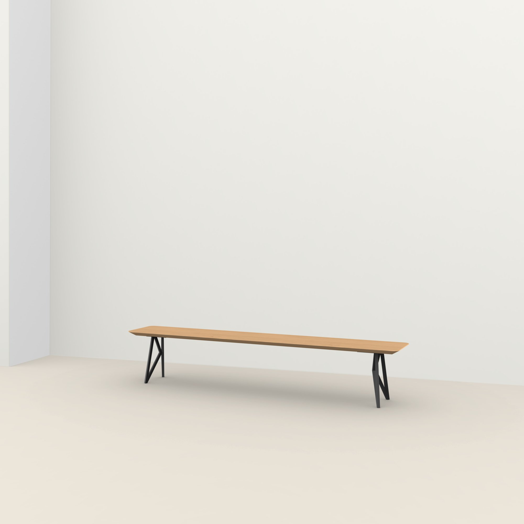 eettafelbank op maat | Butterfly Bench Steel black powdercoating | Oak hardwax oil natural light 3041 | Studio HENK |