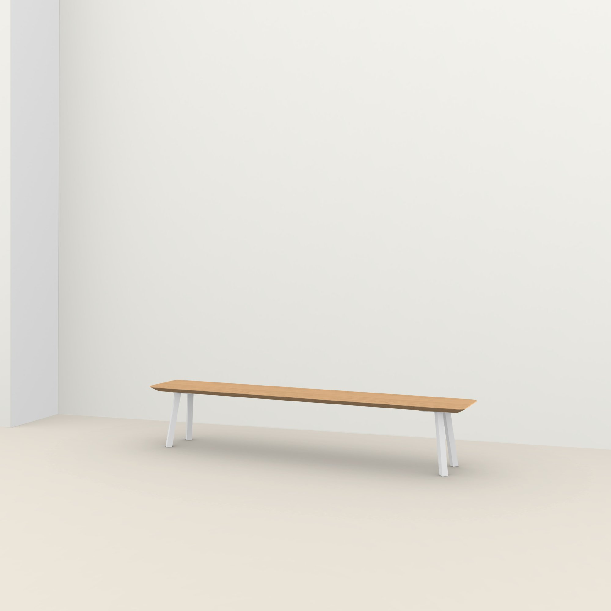 eettafelbank op maat | New Classic Bench Steel white powdercoating | Oak hardwax oil natural light 3041 | Studio HENK |