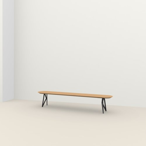 dining bench | Butterfly Bench Steel black powdercoating | Oak hardwax oil natural light 3041 | Studio HENK | Listing_image