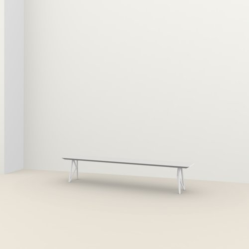 dining bench | Butterfly Bench Steel white powdercoating | Oak white lacquer | Studio HENK | Listing_image