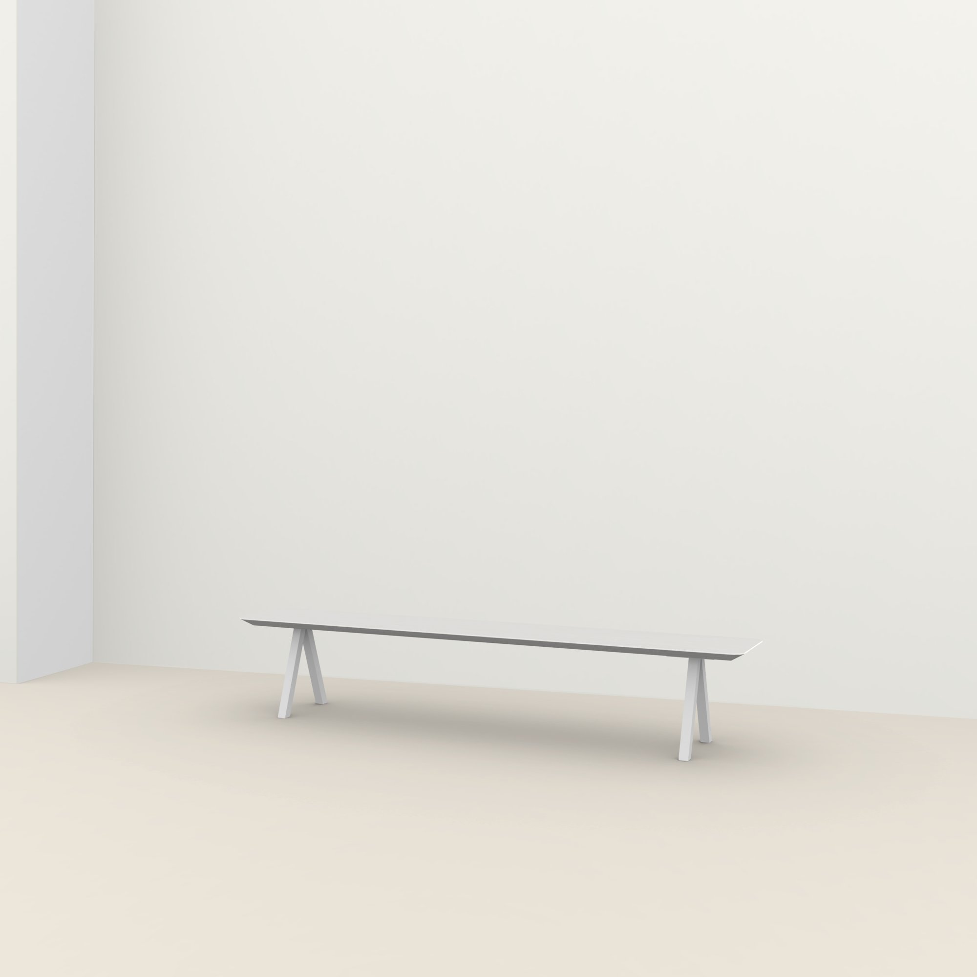 eettafelbank op maat | Slim X-type Bench Steel white powdercoating | Oak white lacquer | Studio HENK |