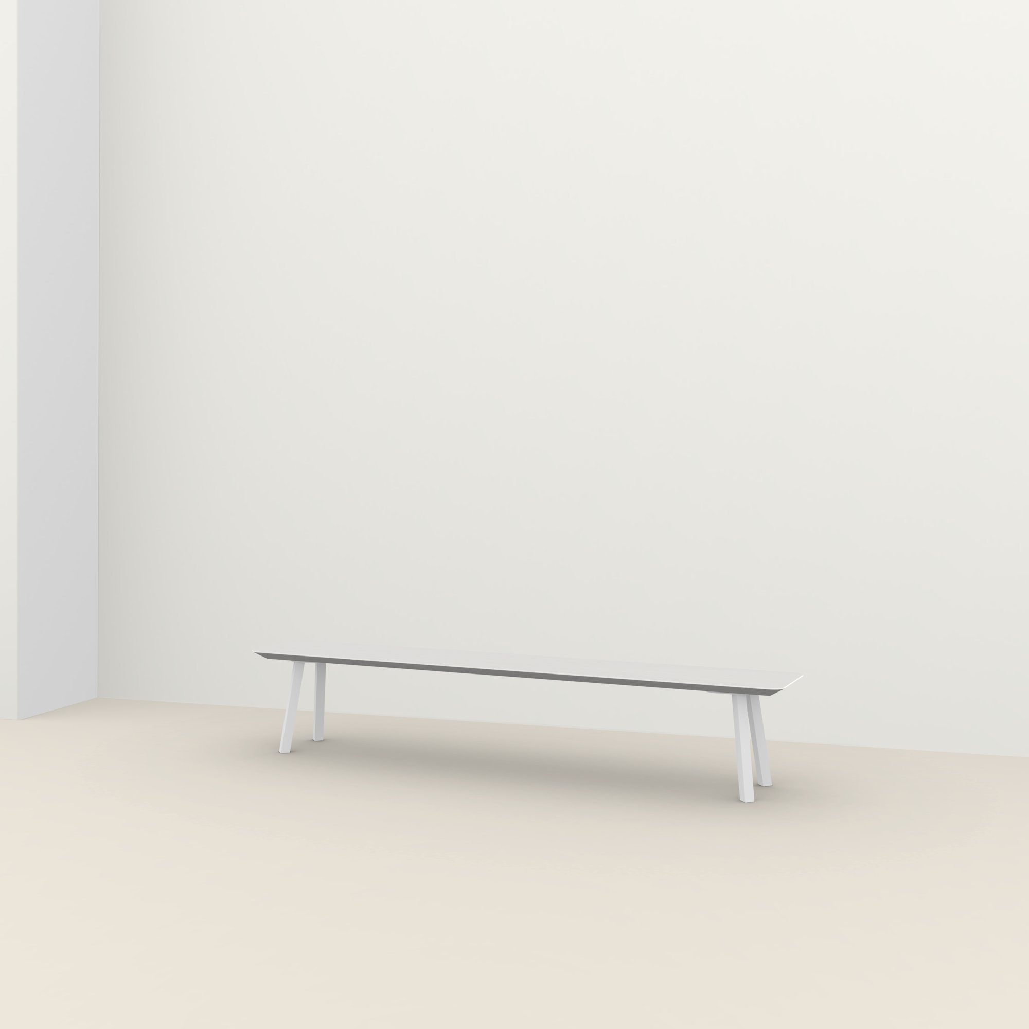 eettafelbank op maat | New Classic Bench Steel white powdercoating | Oak white lacquer | Studio HENK |