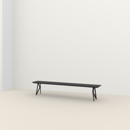 dining bench | Butterfly Bench Steel black powdercoating | Oak black stain | Studio HENK | Listing_image