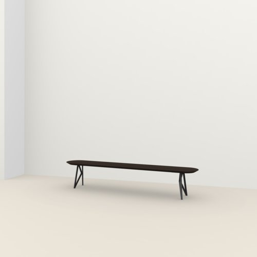 dining bench | Butterfly Bench Steel black powdercoating | Oak smoked stain | Studio HENK | Listing_image