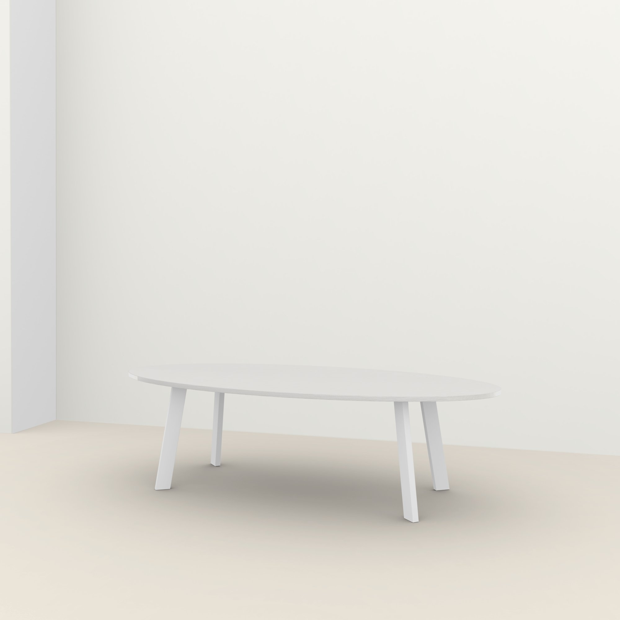Ovale design tafel op maat | New Co Steel white powdercoating | Oak white lacquer | Studio HENK |