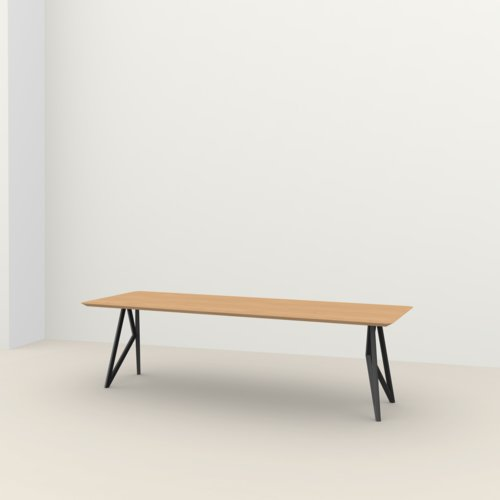 Rectangular design dining table | Butterfly Steel black powdercoating | Oak hardwax oil natural light 3041 | Studio HENK | Listing_image