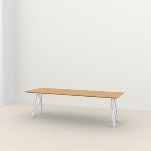 Rectangular design dining table | Butterfly Steel white powdercoating | Oak hardwax oil natural light 3041 | Studio HENK | Listing_image