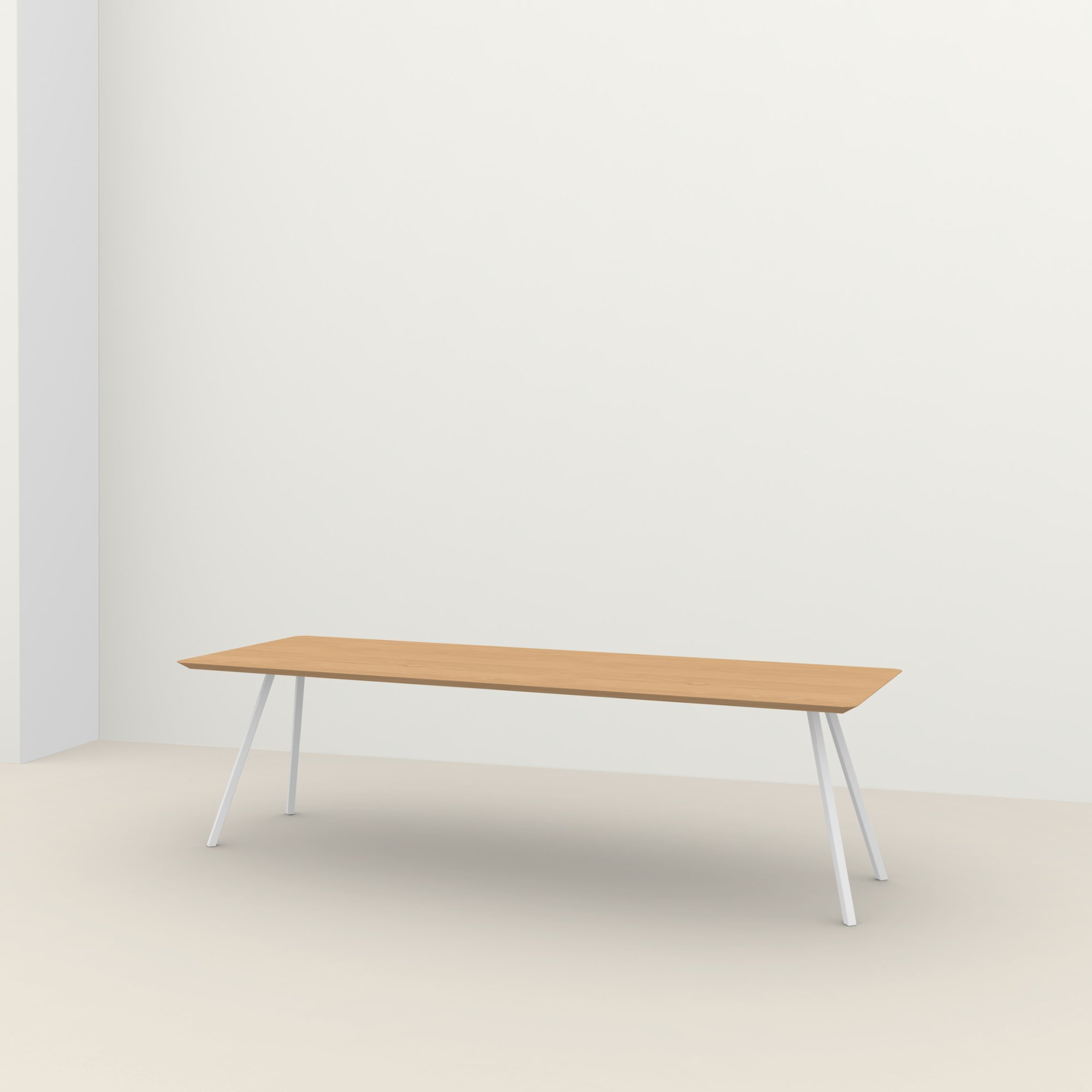 Rechthoekige design tafel op maat | Slim Co Steel white powdercoating | Oak hardwax oil natural light 3041 | Studio HENK |