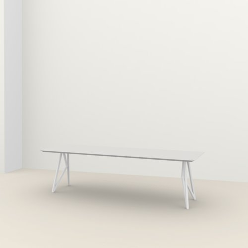 Rectangular design dining table | Butterfly Steel white powdercoating | Oak white lacquer | Studio HENK | Listing_image