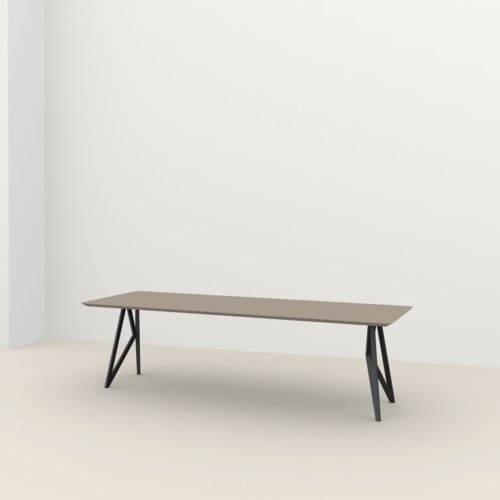Rectangular design dining table | Butterfly Steel black powdercoating | HPL Fenix beige arizona | Studio HENK | Listing_image
