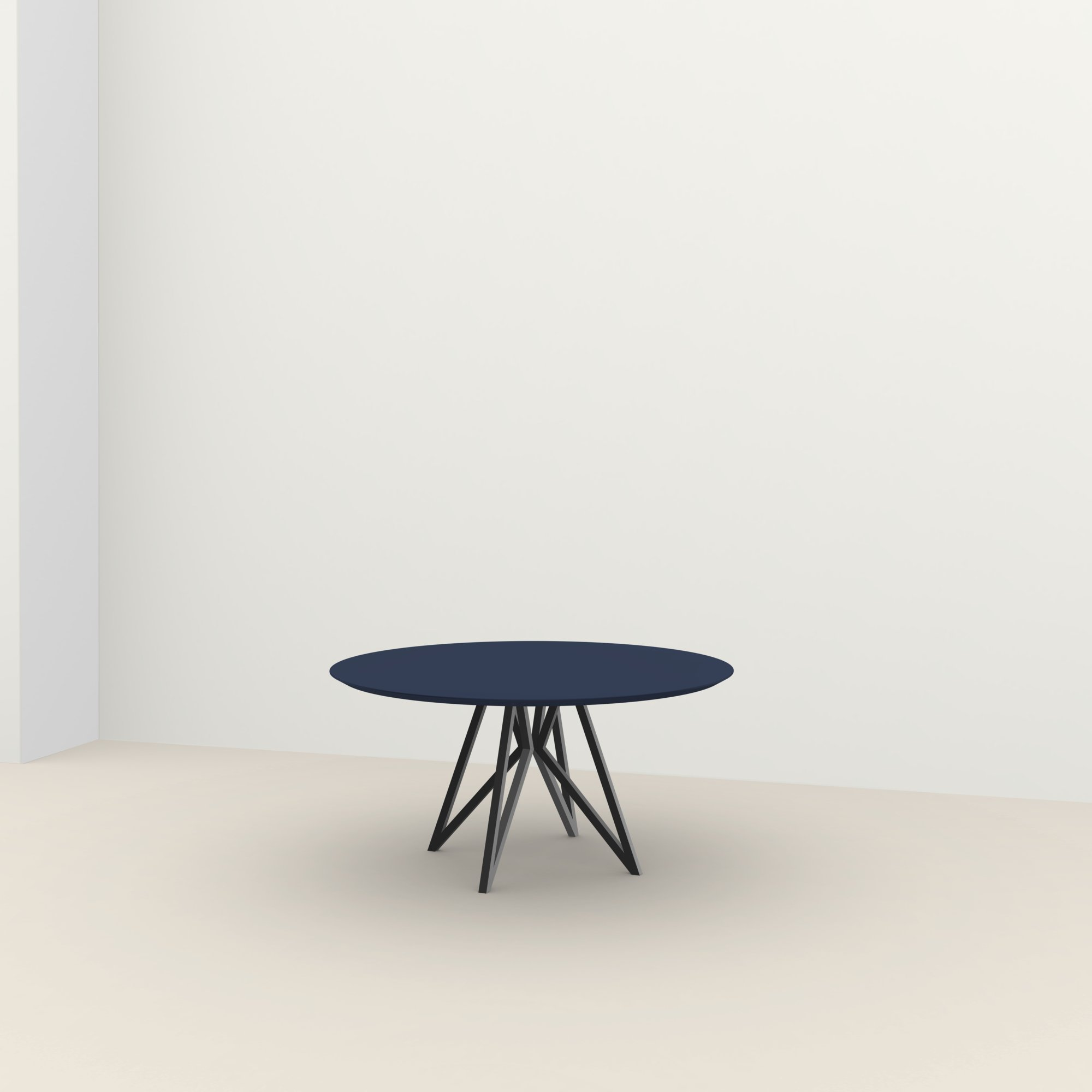 Ronde design tafel op maat | Butterfly Quadpod Steel black powdercoating | HPL Fenix blu fes | Studio HENK |
