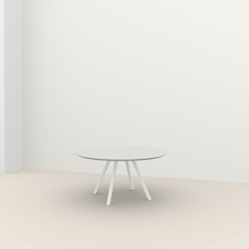 Ronde design tafel op maat | New Classic Quadpod Steel white powdercoating | Oak white lacquer | Studio HENK | Listing_image