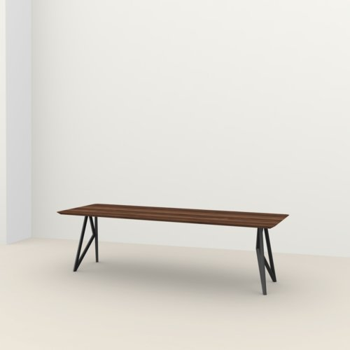 Rectangular design dining table | Butterfly Steel black powdercoating | Walnut naturel lacquer | Studio HENK | Listing_image