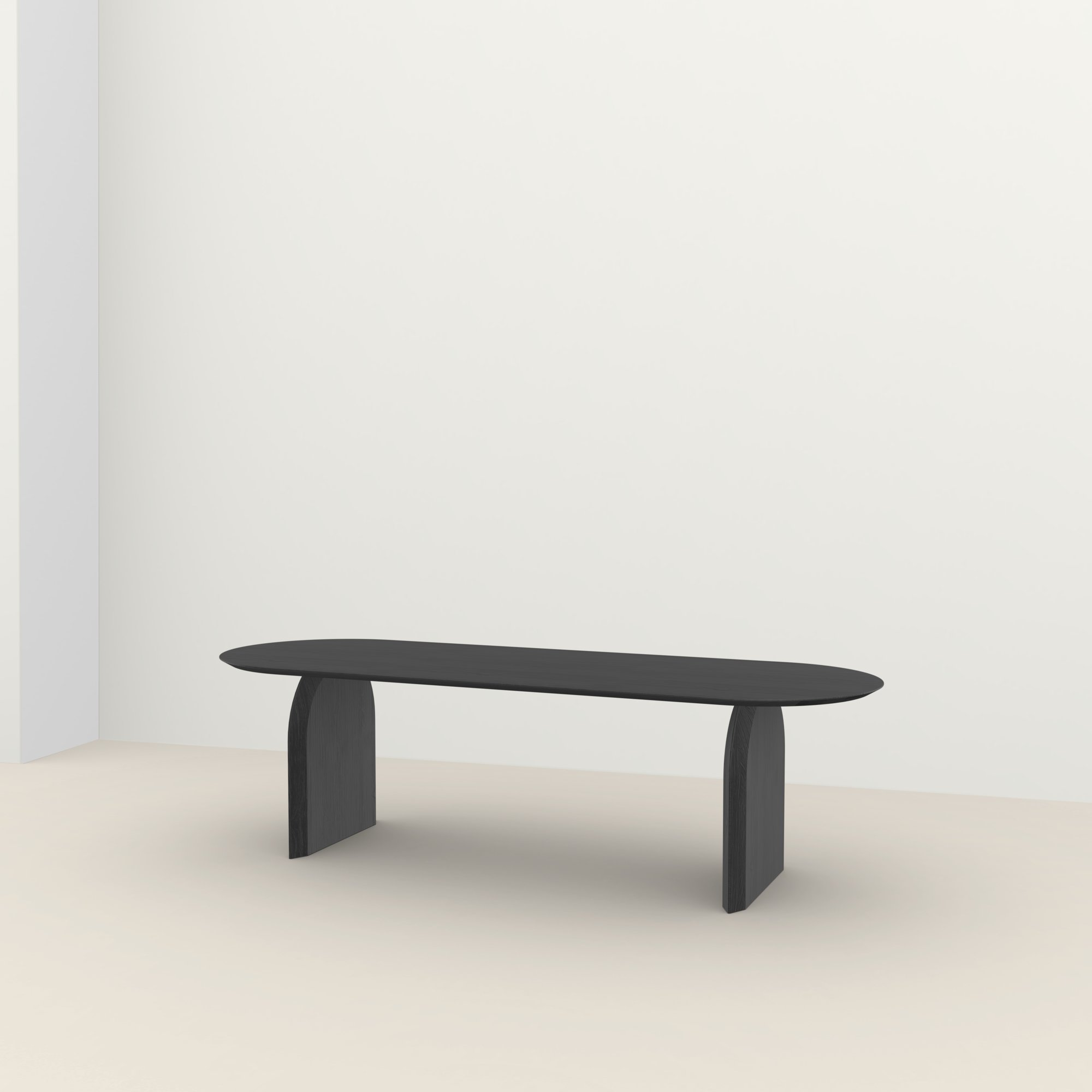 Flat oval design tafel op maat | Slot Oak black stain | Oak black stain | Studio HENK |