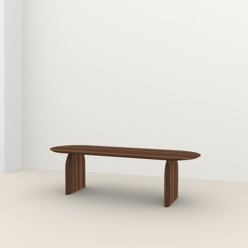 Flat oval design dining table | Slot Walnut naturel lacquer | Walnut naturel lacquer | Studio HENK | Listing_image