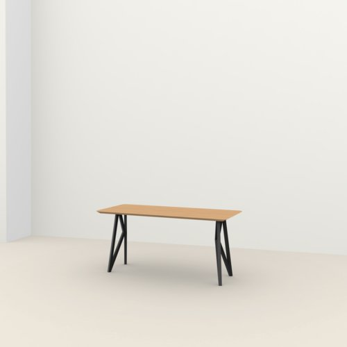 Rechthoekige design tafel op maat | Butterfly Home Desk Steel black powdercoating | Oak hardwax oil natural light 3041 | Studio HENK | Listing_image