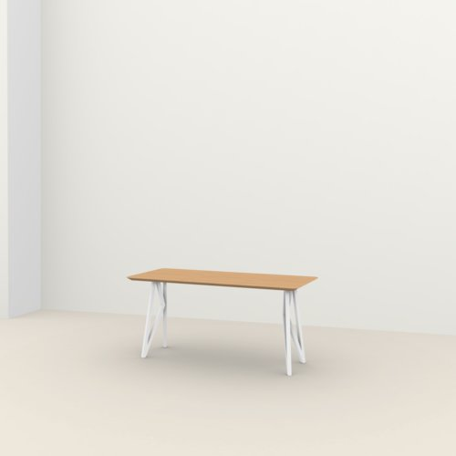 Rechthoekige design tafel op maat | Butterfly Home Desk Steel white powdercoating | Oak hardwax oil natural light 3041 | Studio HENK | Listing_image