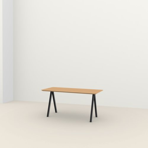 Rechthoekige design tafel op maat | Slim X-type Home Desk Steel black powdercoating | Oak hardwax oil natural light 3041 | Studio HENK | Listing_image
