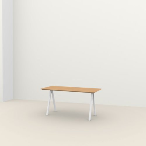 Rechthoekige design tafel op maat | Slim X-type Home Desk Steel white powdercoating | Oak hardwax oil natural light 3041 | Studio HENK | Listing_image