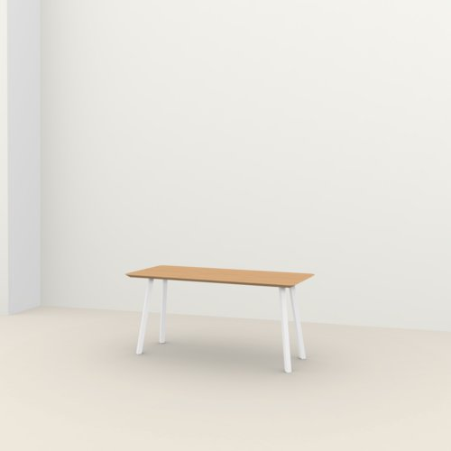 Rechthoekige design tafel op maat | New Classic Home Desk Steel white powdercoating | Oak hardwax oil natural light 3041 | Studio HENK | Listing_image