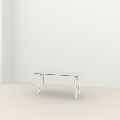 Rechthoekige design tafel op maat | Butterfly Home Desk Steel white powdercoating | Oak white lacquer | Studio HENK | Listing_image
