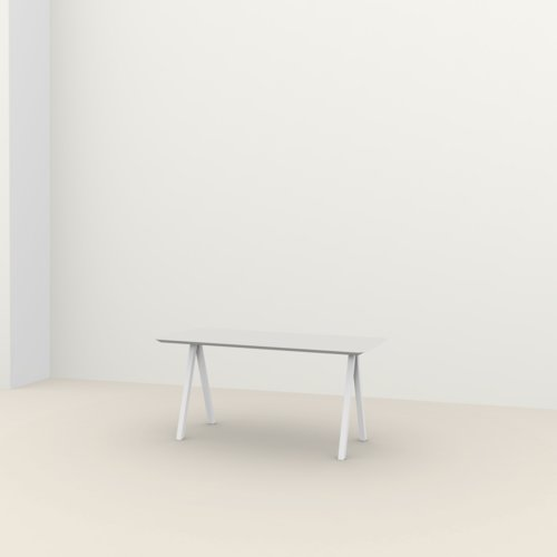 Rechthoekige design tafel op maat | Slim X-type Home Desk Steel white powdercoating | Oak white lacquer | Studio HENK | Listing_image