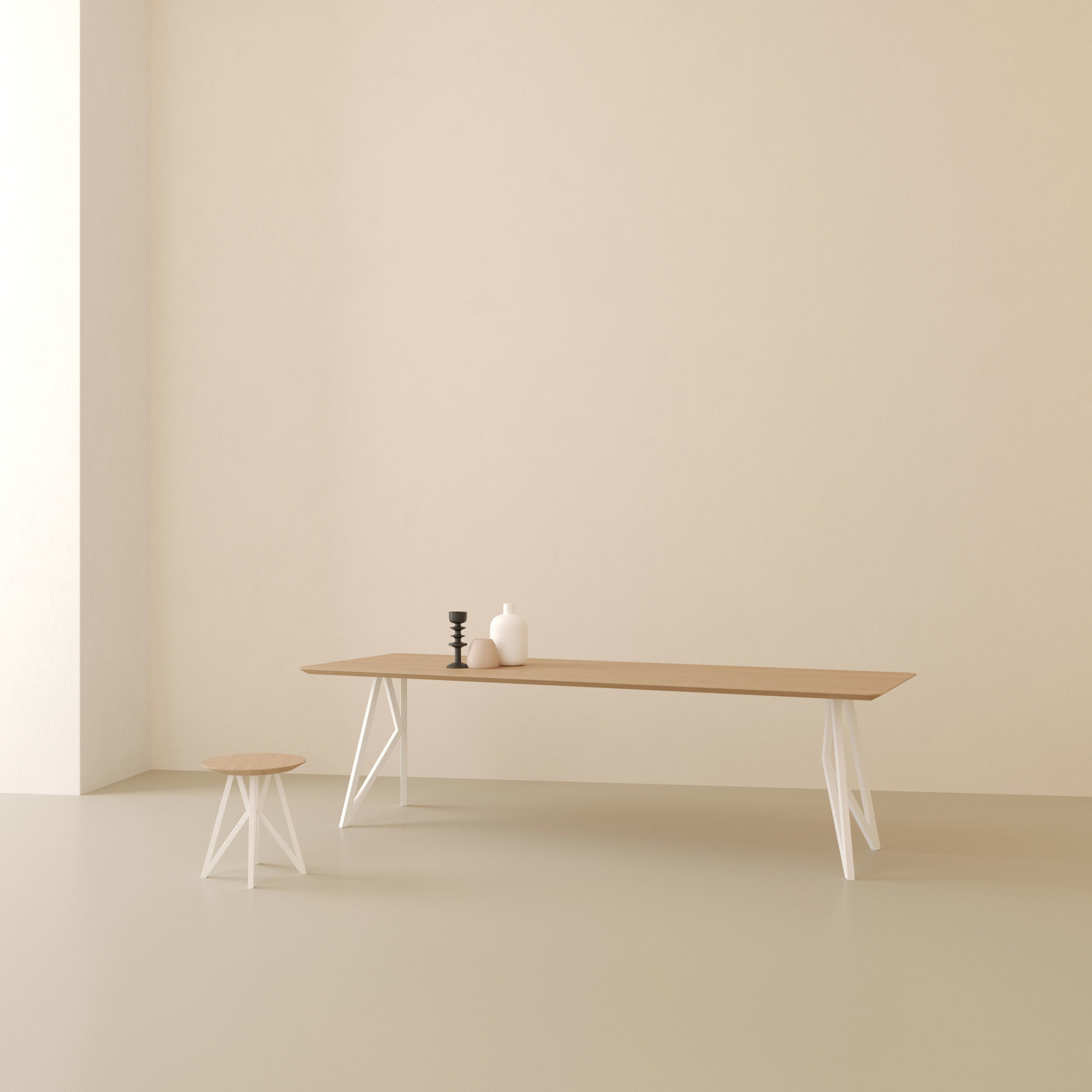 Design salontafel | Butterfly Quadpod Coffee Table White | Oak hardwax oil natural light 3041 | Studio HENK | Setting