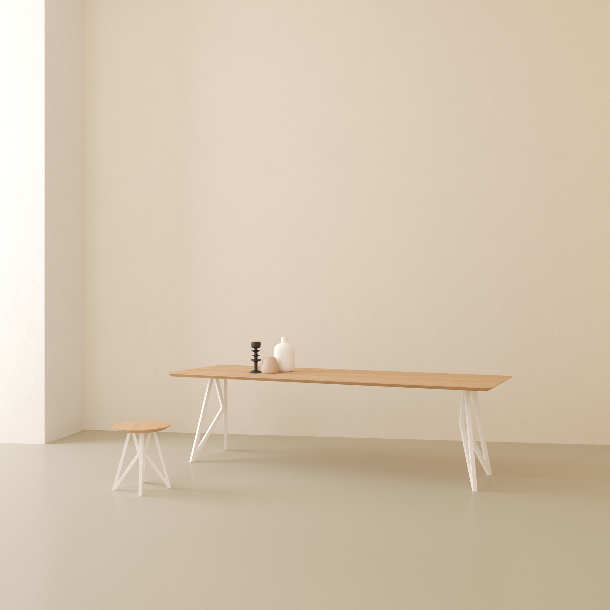 Design salontafel | Butterfly Quadpod Coffee Table White | Oak hardwax oil natural 3062 | Studio HENK | Setting