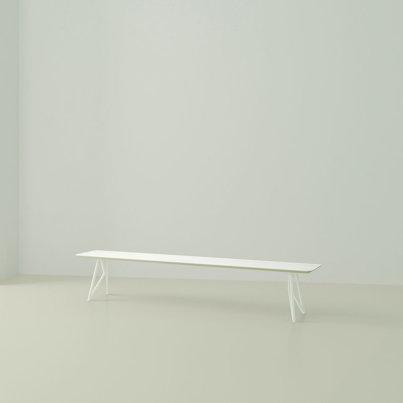 eettafelbank op maat | Butterfly Bench Steel white powdercoating | Oak white lacquer | Studio HENK | Listing_image