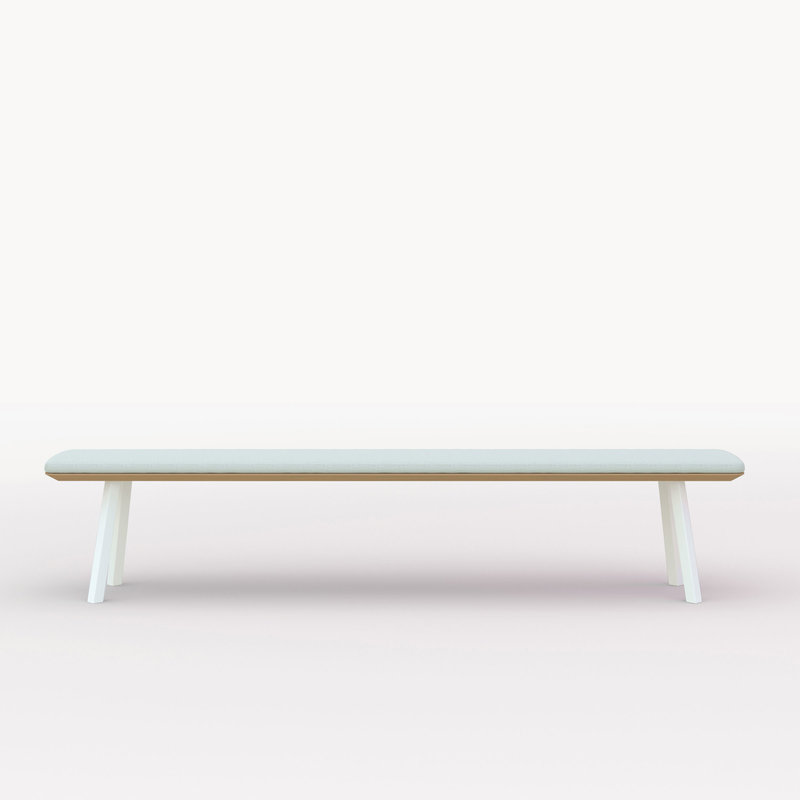 eettafelbank op maat | New Classic Bench Steel white powdercoating | Oak hardwax oil natural light 3041 | Studio HENK | Cutout
