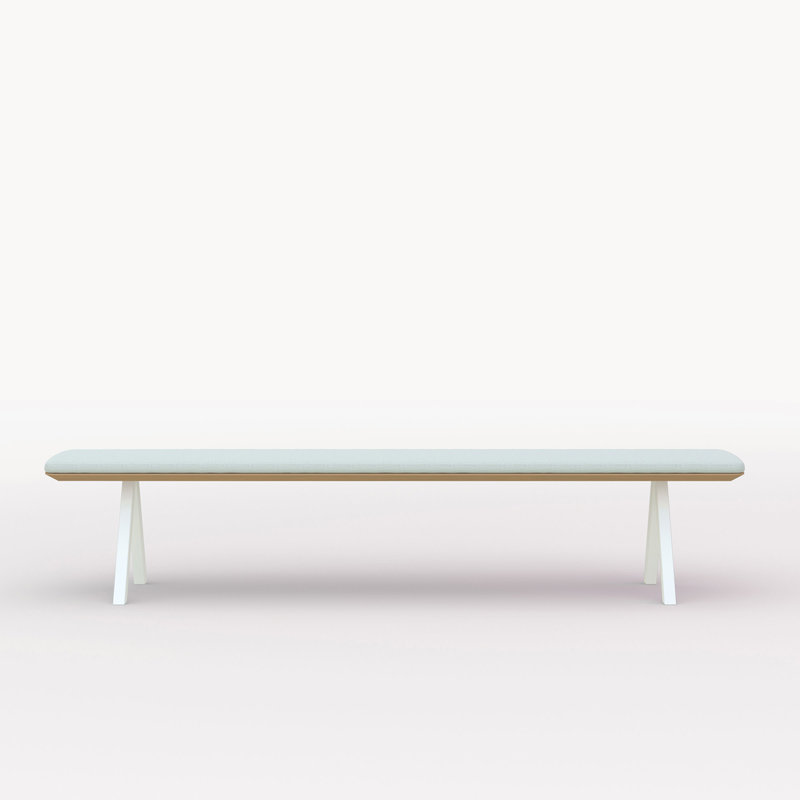eettafelbank op maat | Slim X-type Bench Steel white powdercoating | Oak hardwax oil natural light 3041 | Studio HENK | Cutout