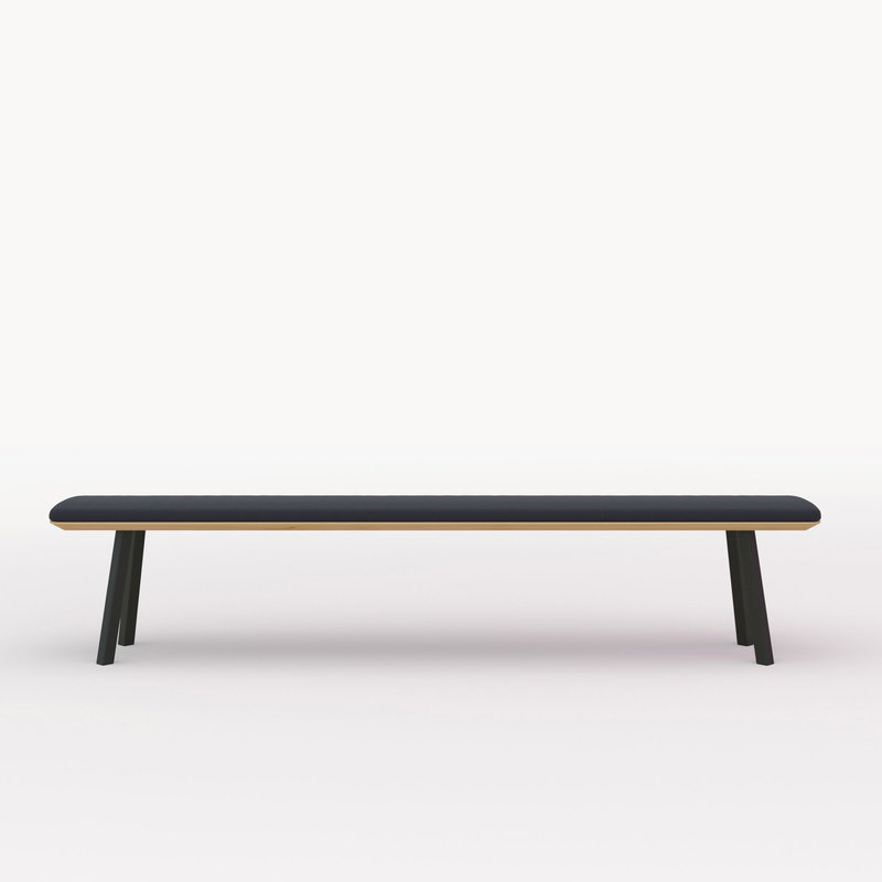 eettafelbank op maat | New Classic Bench Steel black powdercoating | Oak hardwax oil natural 3062 | Studio HENK | Cutout