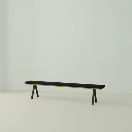 eettafelbank op maat | Slim X-type Bench Steel black powdercoating | Oak hardwax oil natural 3062 | Studio HENK | Listing_image