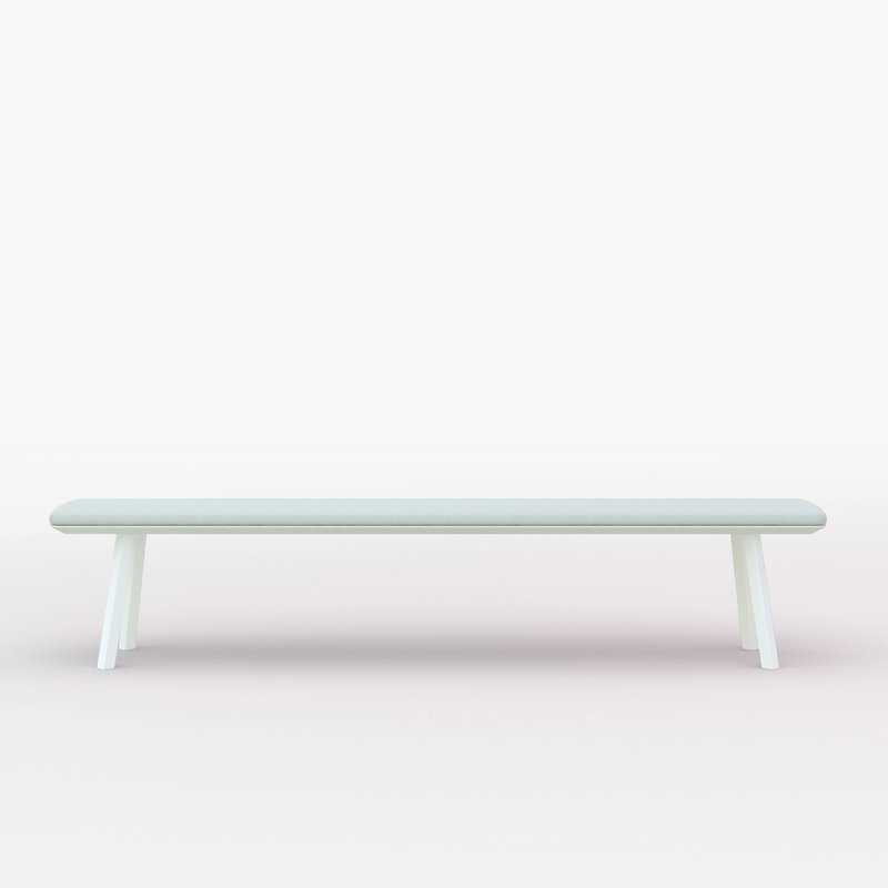 eettafelbank op maat | New Classic Bench Steel white powdercoating | Oak white lacquer | Studio HENK | Cutout