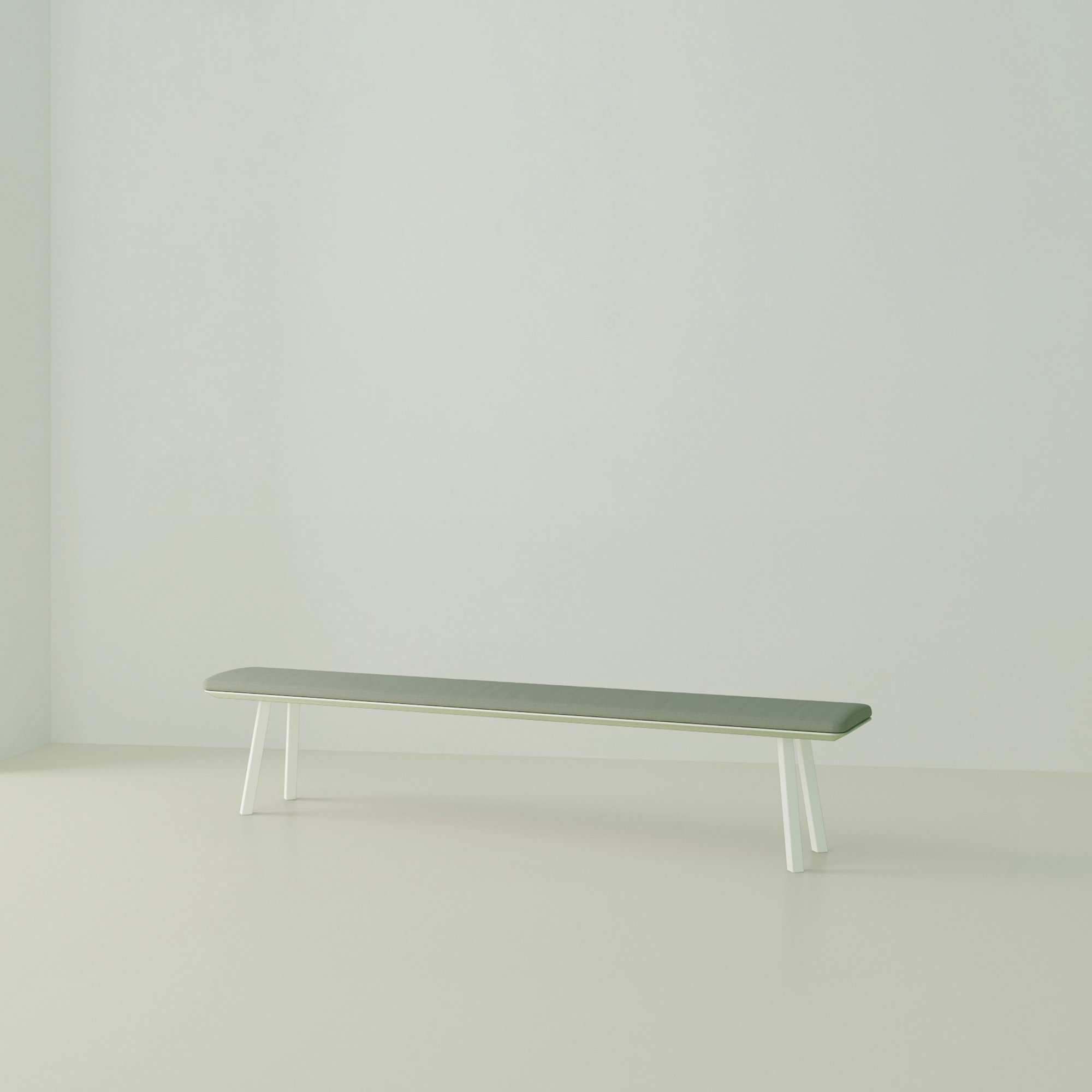 eettafelbank op maat | New Classic Bench Steel white powdercoating | Oak white lacquer | Studio HENK | Listing_image