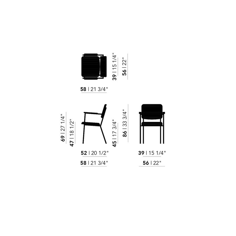 Design eetkamerstoel | Co Chair with armrest hallingdal65 457 | Studio HENK | Schematic