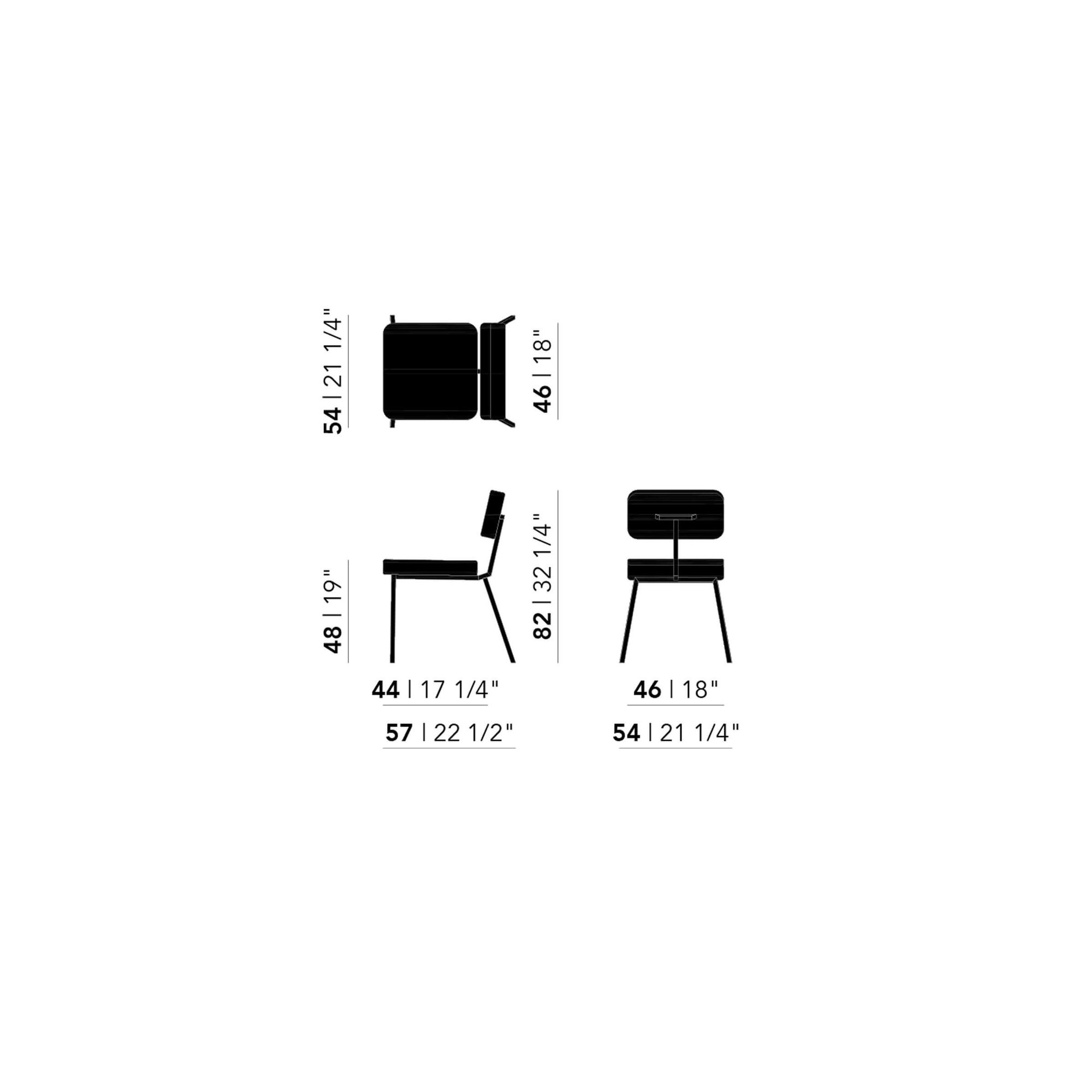 Design eetkamerstoel | Ode Chair without armrest steelcuttrio3 636 | Studio HENK | Schematic