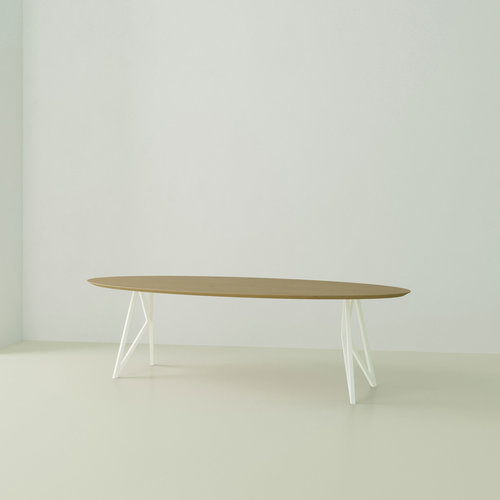 Ovale design tafel op maat | Butterfly Wit | Eiken hardwax olie naturel light 3041 | Studio HENK | Listing_image