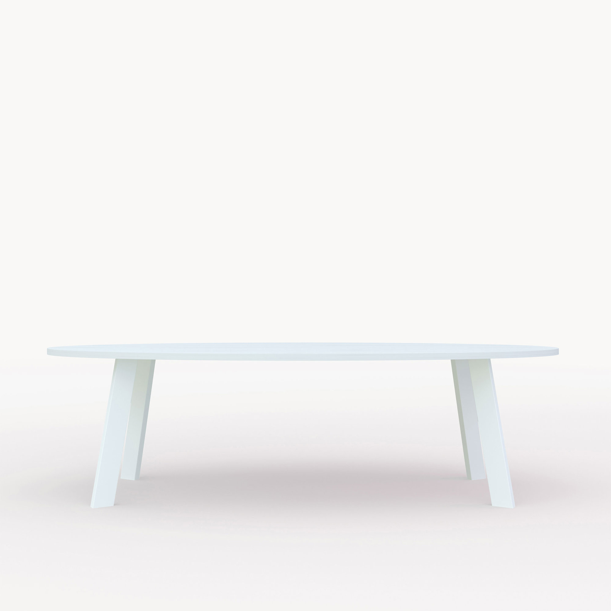Ovale design tafel op maat | New Co Steel white powdercoating | Oak white lacquer | Studio HENK | Cutout