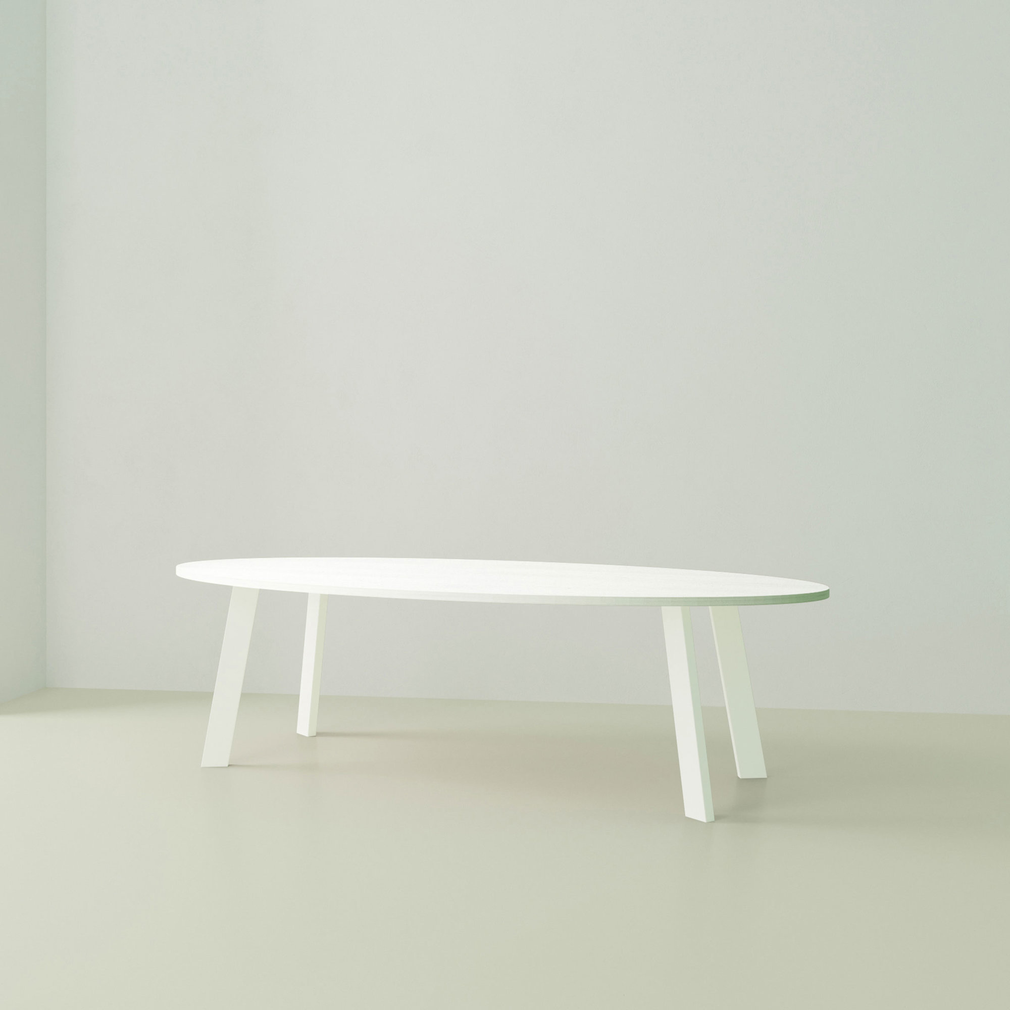 Ovale design tafel op maat | New Co Steel white powdercoating | Oak white lacquer | Studio HENK | Listing_image
