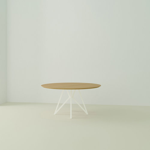 Ronde design tafel op maat | Butterfly Quadpod White | Oak hardwax oil natural 3062 | Studio HENK | Listing_image