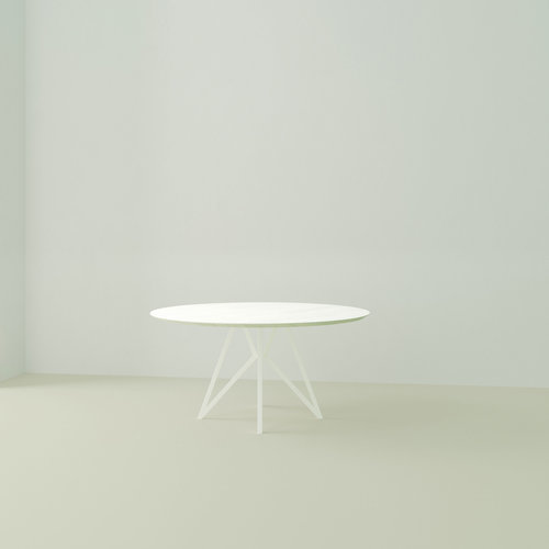 Ronde design tafel op maat | Butterfly Quadpod White | Oak white lacquer | Studio HENK | Listing_image