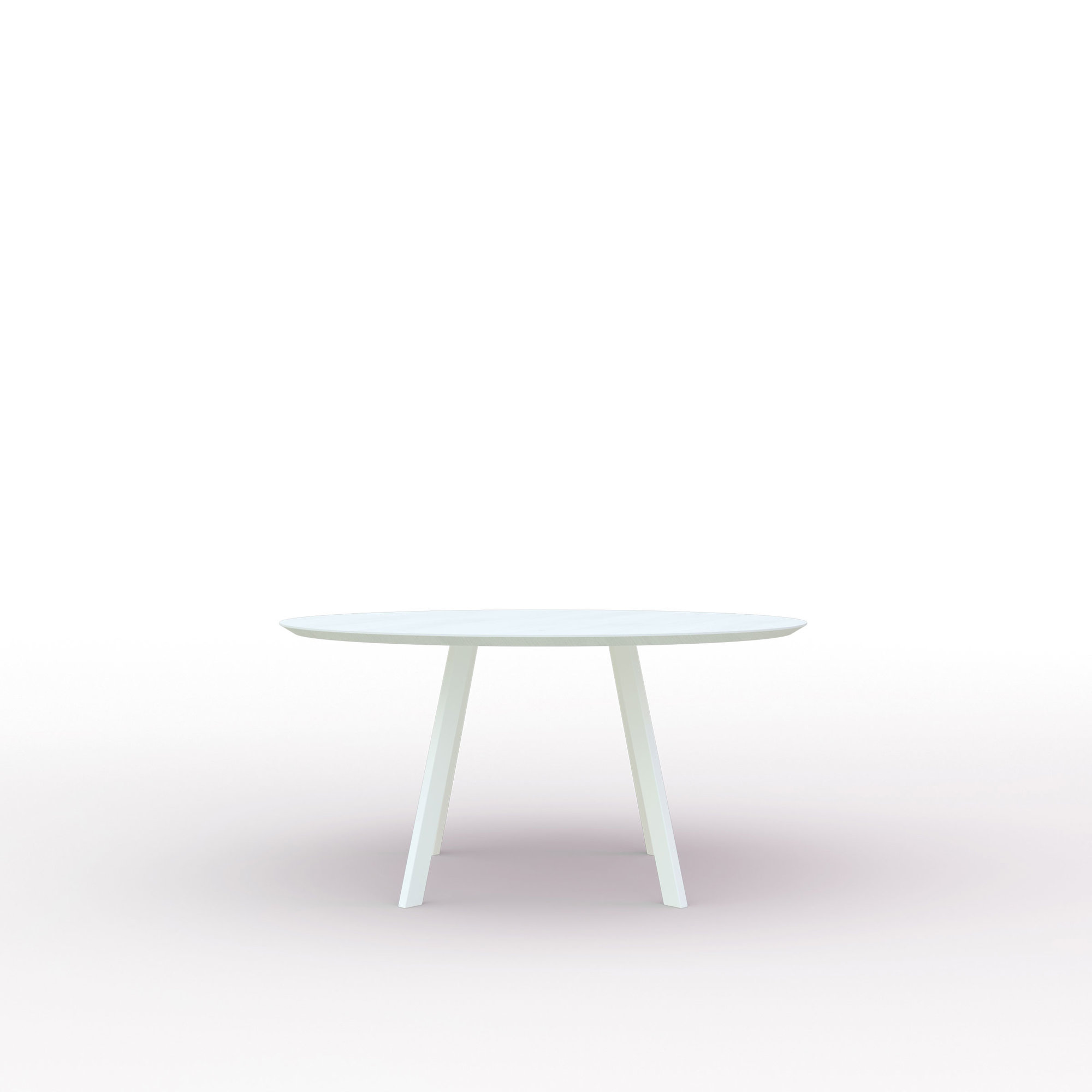Ronde design tafel op maat | New Co Quadpod Steel white powdercoating | Oak white lacquer | Studio HENK | Cutout