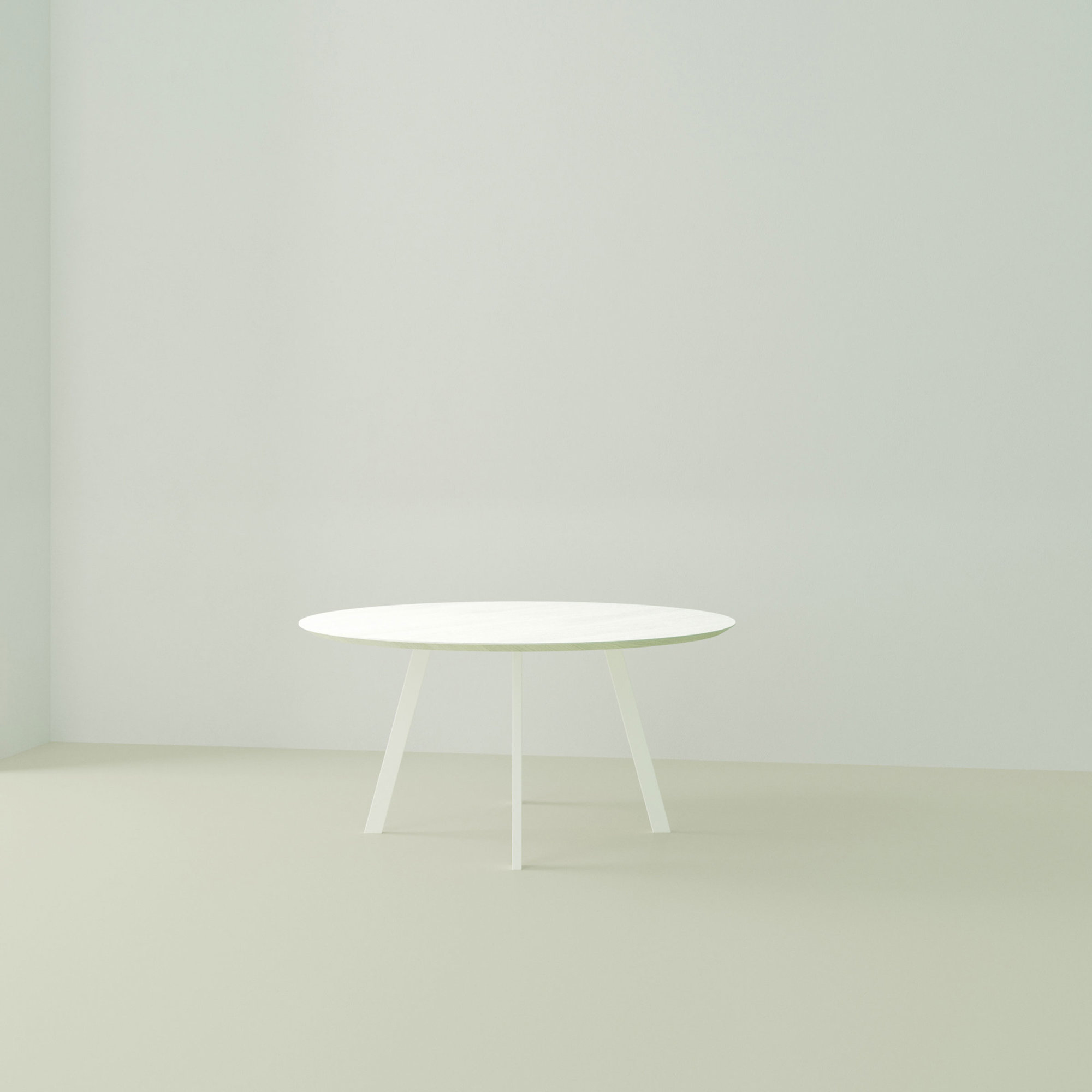 Ronde design tafel op maat | New Co Quadpod Steel white powdercoating | Oak white lacquer | Studio HENK | Listing_image
