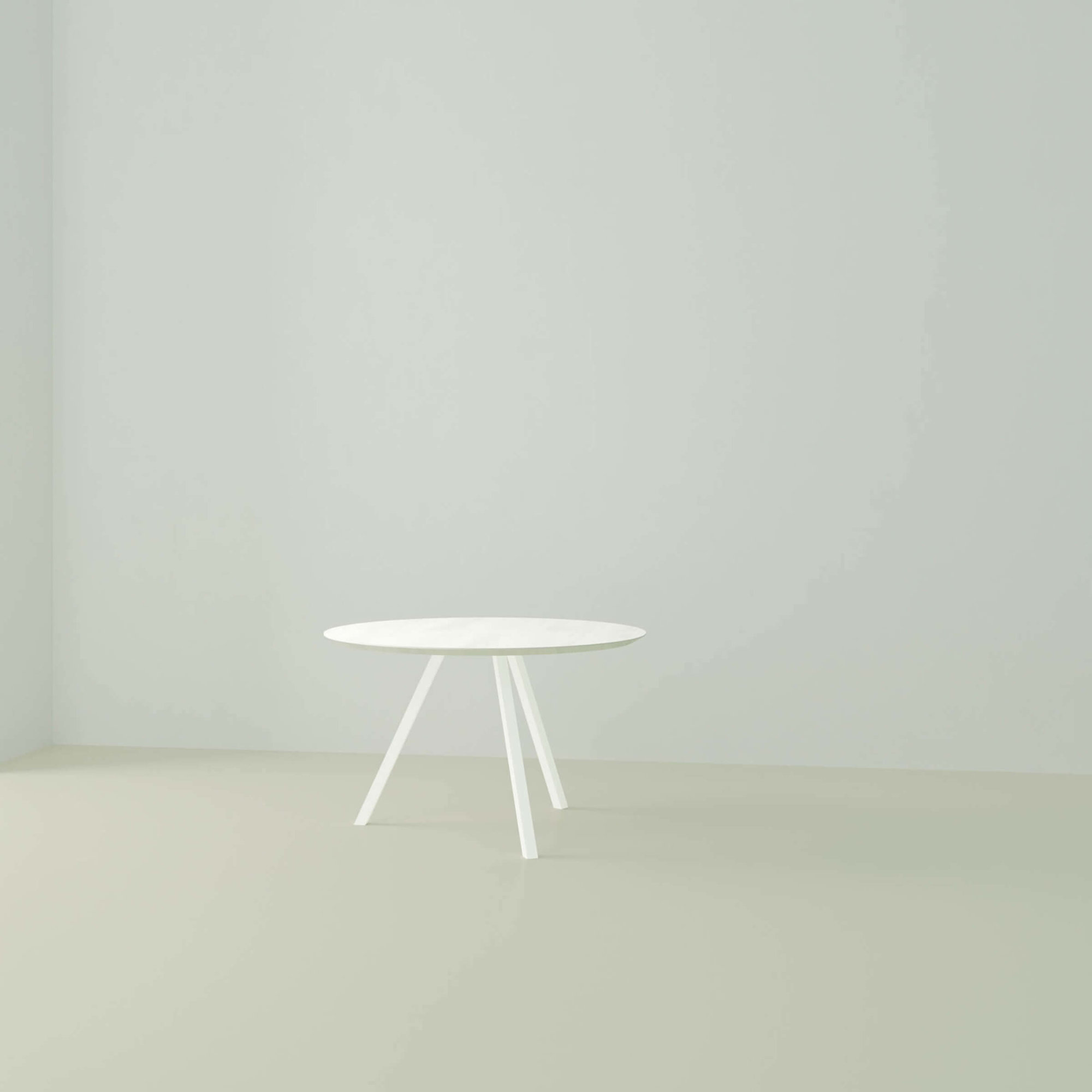 Ronde design tafel op maat | New Classic Tripod Steel white powdercoating | Oak white lacquer | Studio HENK | Listing_image_1