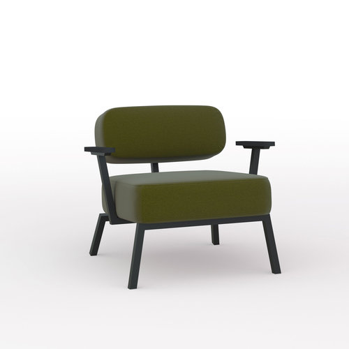 Design zitbank | Ode lounge chair 1 seater with armrest steelcut2 985 | Studio HENK